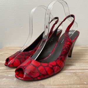 Donald J Pliner Papina Red Patent Crocodile Heels